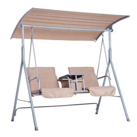 Outsunny 2 Person Covered Patio Swing w/ Pivot Table & Storage Console -