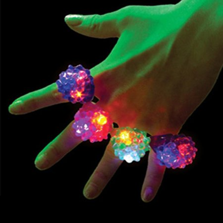 - 24Pcs Flashing LED Ring, 2 Styles Design-Strawberry And Rose Pattern, Bumpy Plastic Rings for Party Favors, Soft Jelly Finger Light Up Toys, Random Color