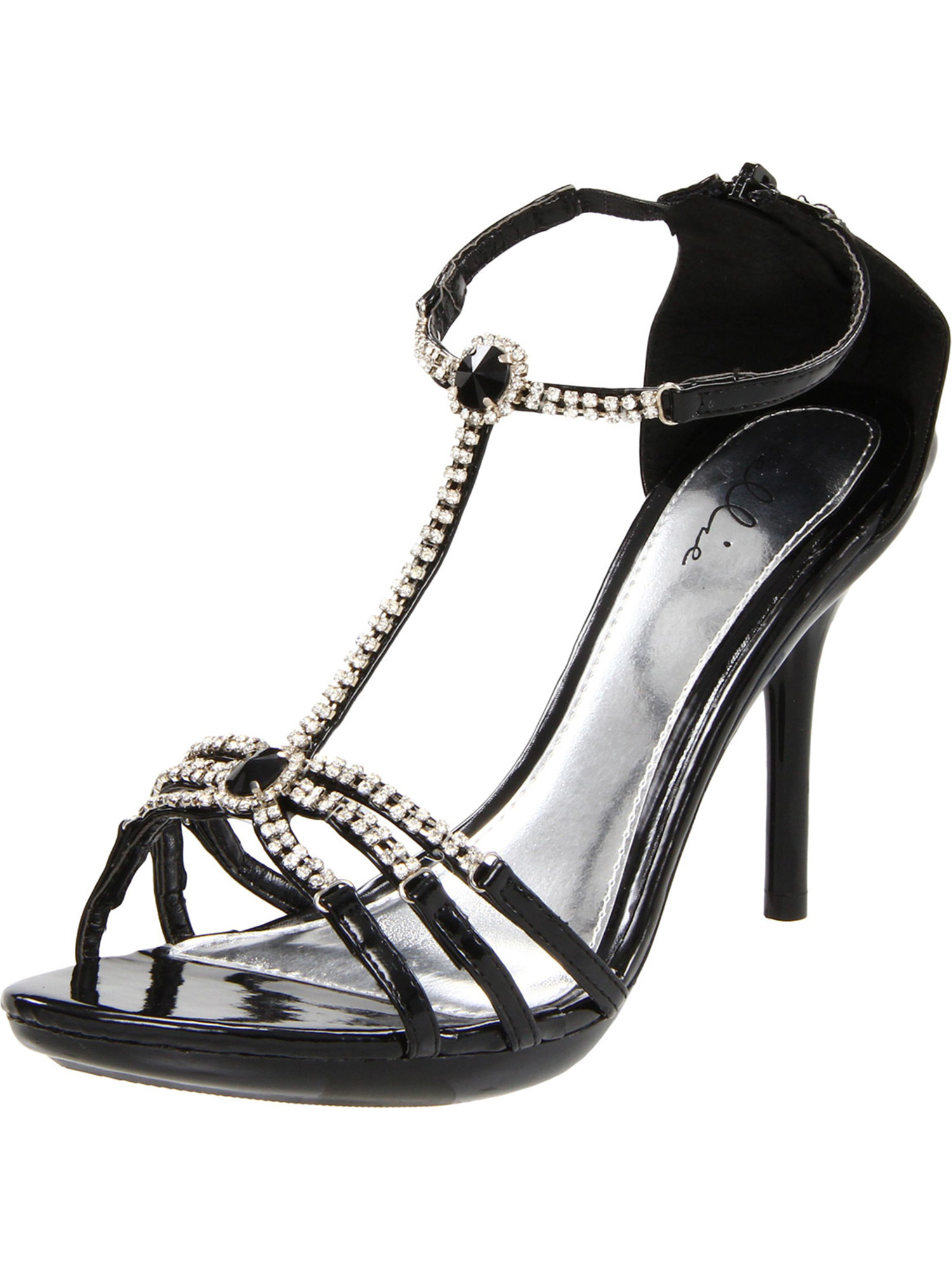 4 Inch High Heel Sexy Shoes Rhinestone T-Strap Sandals Women's Dress Sandals