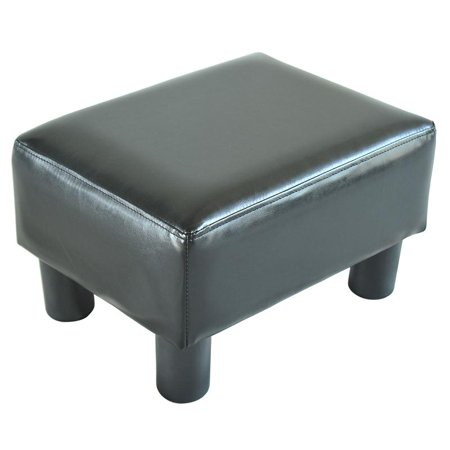 Modern Small Faux Leather Ottoman / Footrest Stool - Black