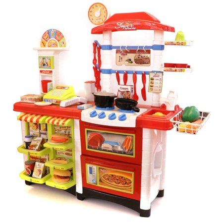 Children's ultimate 52 pc toy kitchen food center set from Little Treasures with full toy cooking and serving stations