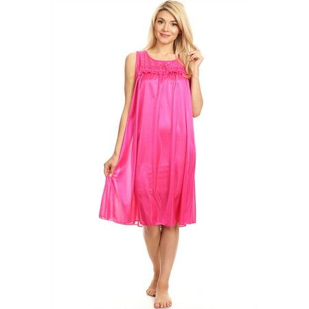Pink Nightgown Girls (9047 Women Nightgown Sleepwear Pajamas Woman Sleep Dress Nightshirt Fuchsia)