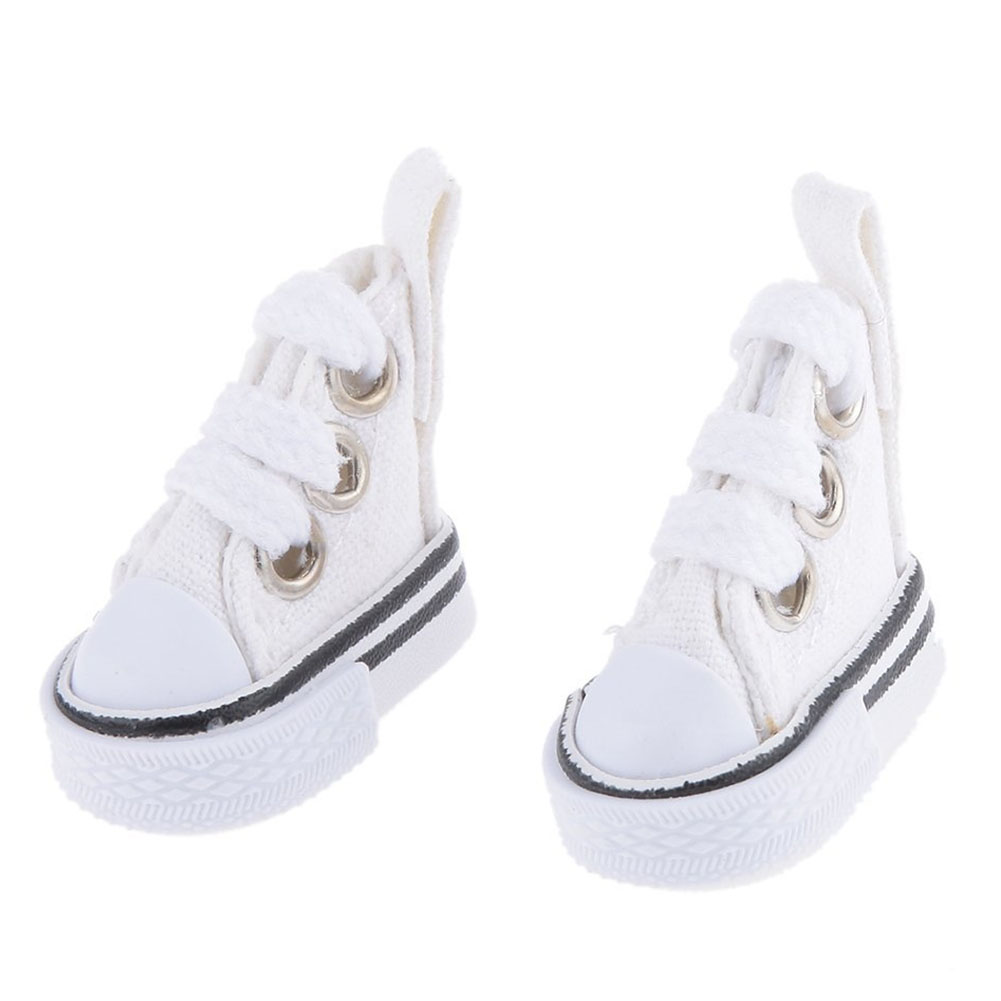 Mini Children Doll Lace-up Canvas Shoes for Doll Toy Accessories Girl Play House Gift Color:White Height: a pair - image 6 of 6