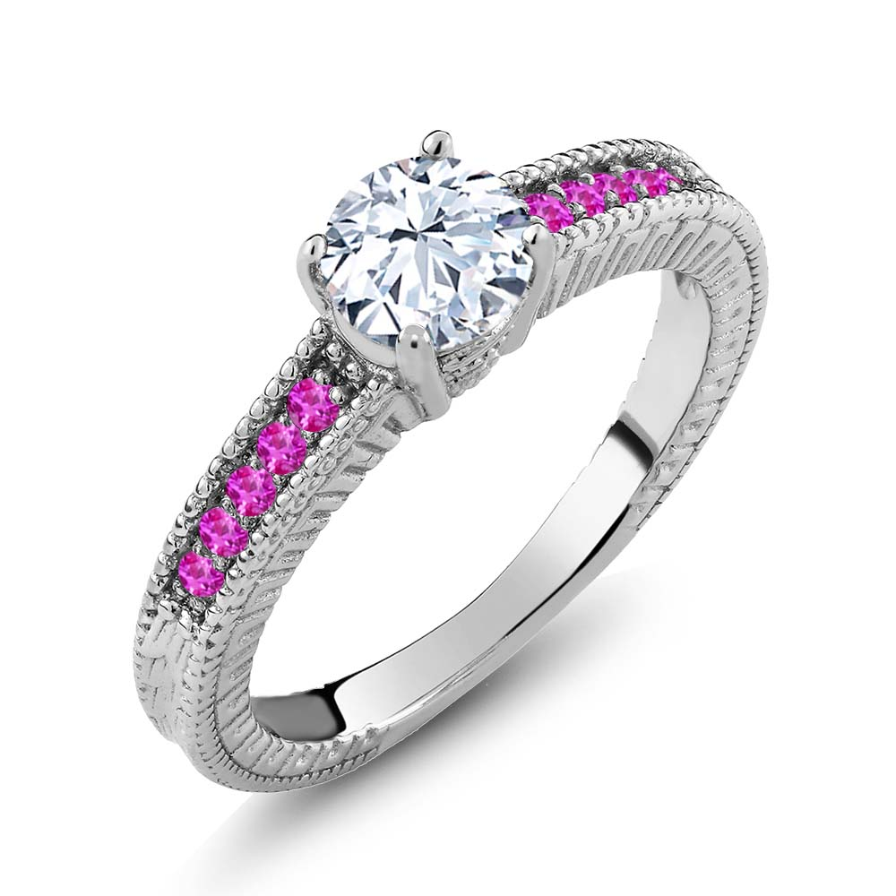 1.18 Ct Round White Topaz Pink Sapphire 925 Sterling Silver Engagement Ring by