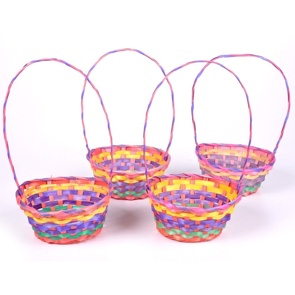"24 Pack of 12"" Rainbow Colored Bamboo Weave Easter Gift Baskets w Handle"