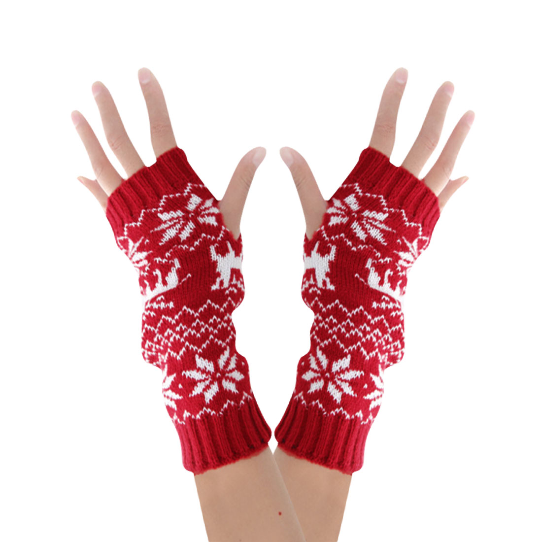 Tasharina Men's Xmas Cozy Deer Pattern Stretch Ribbed Trim Knitting Gloves Red