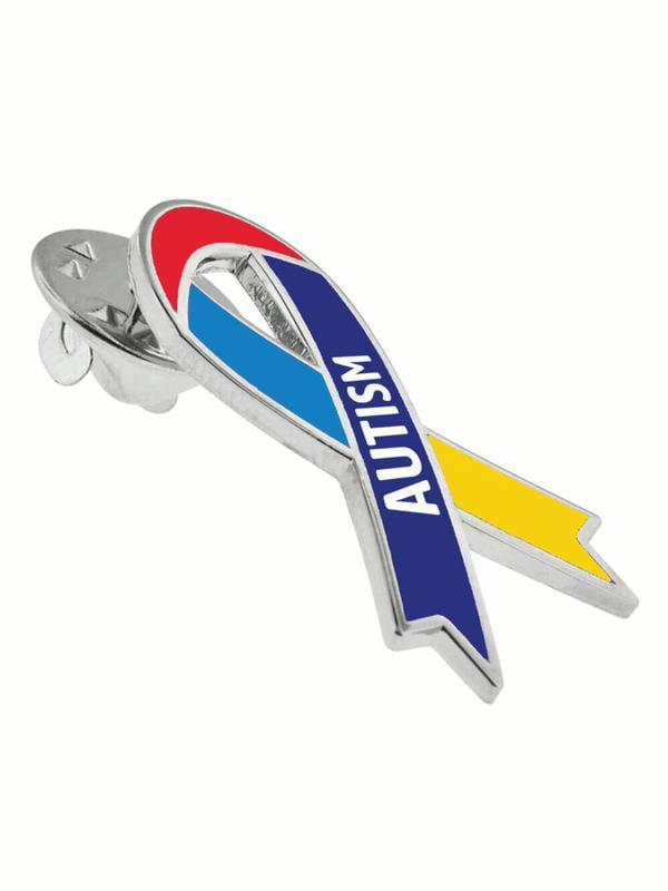e0cc632dd2a PinMart's Autism Multicolored Awareness Ribbon Enamel Lapel Pin