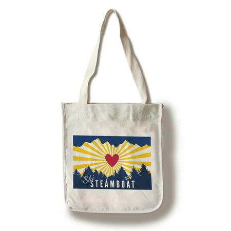 Ski Steamboat - Heart & Treeline - Lantern Press Artwork (100% Cotton Tote Bag - Reusable)