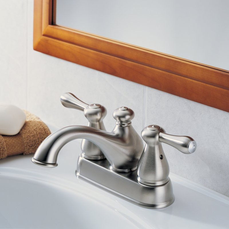 Delta Leland 2578LF 4 in. Centerset Low Arc Bathroom Faucet with Pop-Up Stainless by Delta Faucets