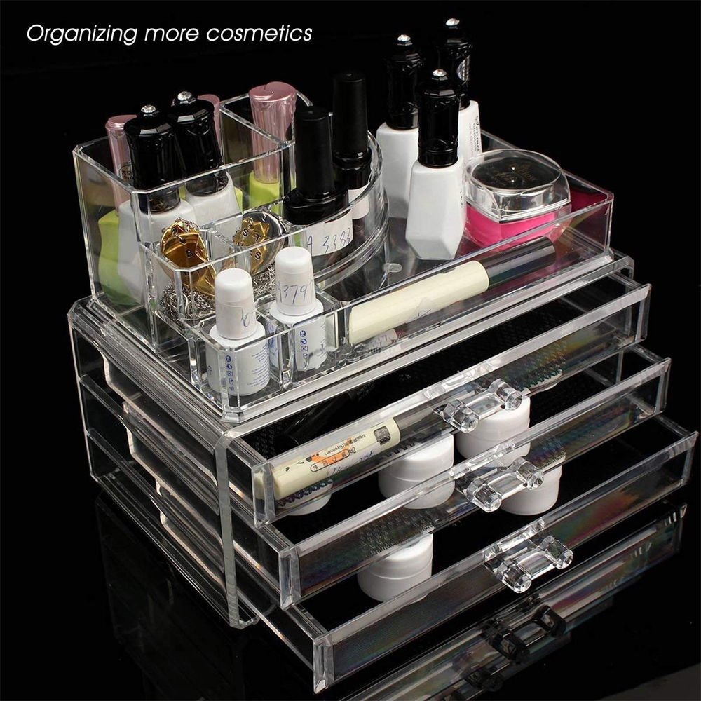 Zimtown Clear Plastic Acrylic Makeup Case Cosmetic Organizer 3 Drawers  Holder Jewelry Lipstick Storage Box