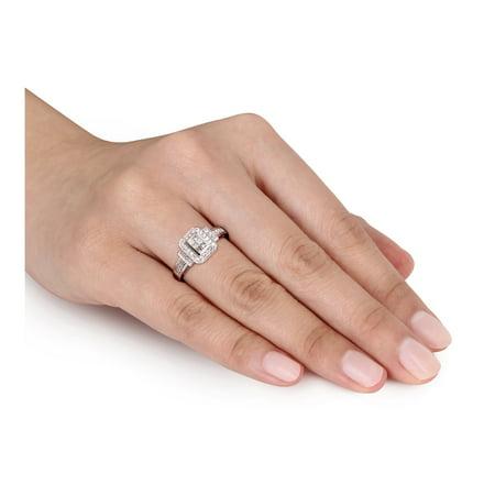Princess Cut Diamond Engagement Ring 1/3 Carat (ctw Color H-I Clarity I2-I3) in 14K White Gold - image 3 de 4