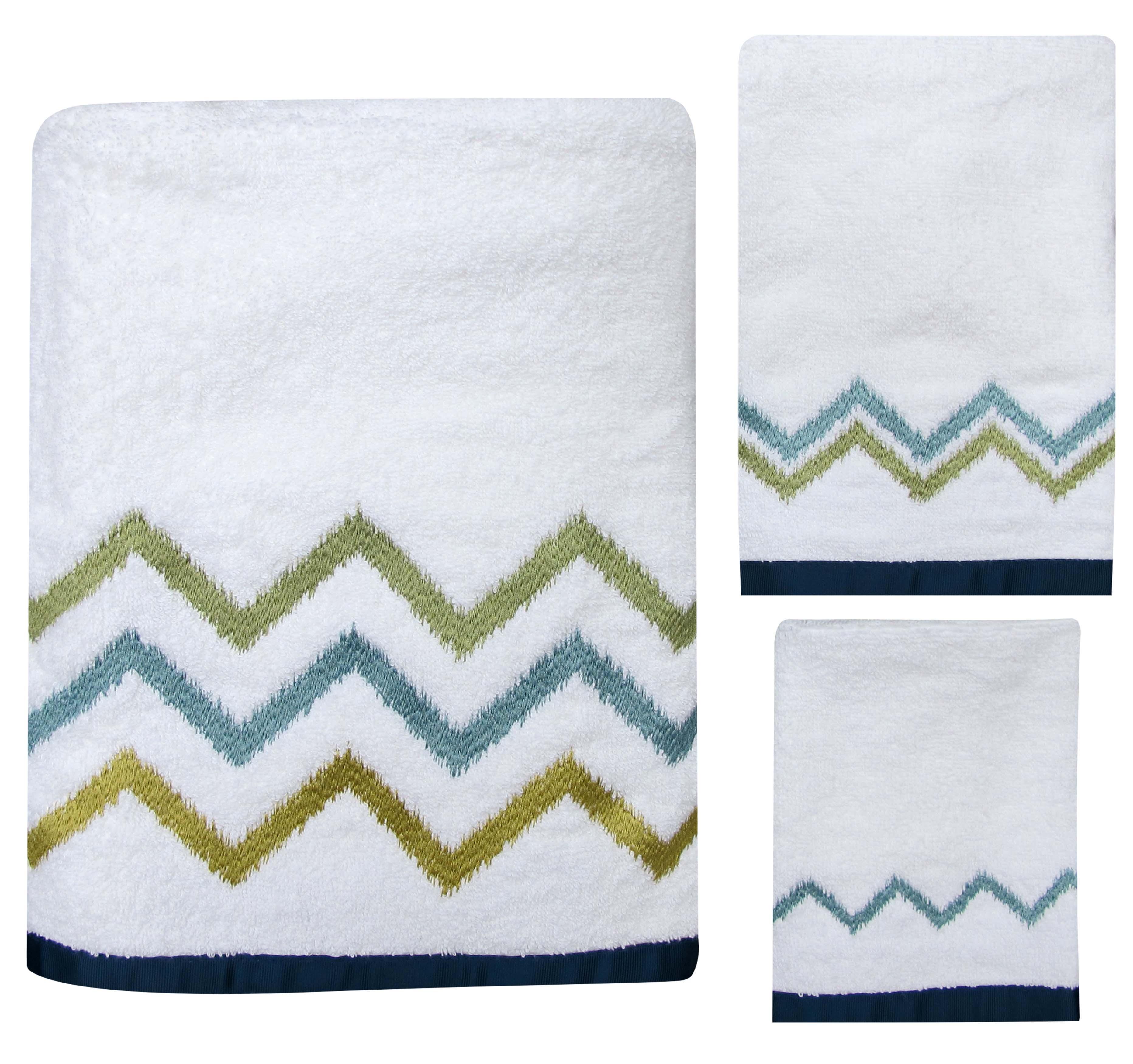 100% cotton Ikat Stripe Towel Set 3-piece set by Allure Home Creation