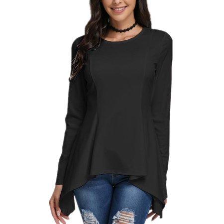 4c88fd793d0 Celmia Women s Fashion Long Sleeve Irregular Hem Slim Fit Tunic Tops ...