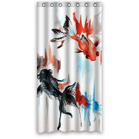 GreenDecor Goldfish Waterproof Shower Curtain Set with Hooks Bathroom Accessories Size 36x72 inches