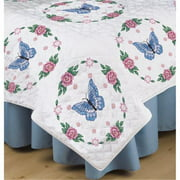 "Stamped White Quilt Blocks, 18"" x 18"", 6pk, Butterfly Rose"
