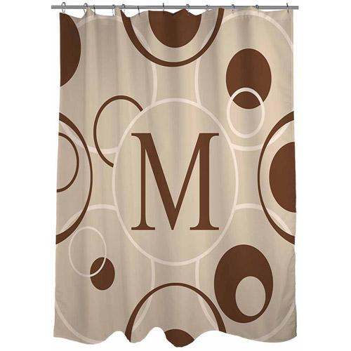 MWW, Inc. Thumbprintz Circle Variations Monogram Shower Curtain, Neutral