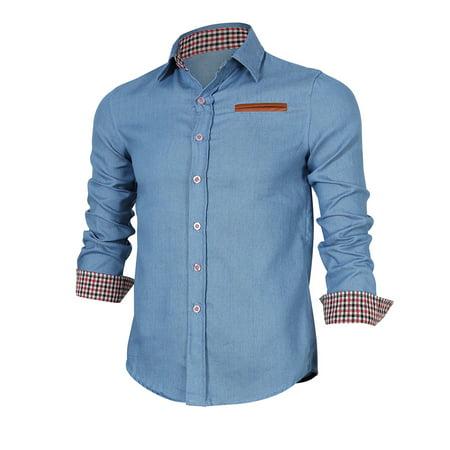 Yiwa Men's Cotton Casual Button Down Denim Shirt Light Blue XL ()