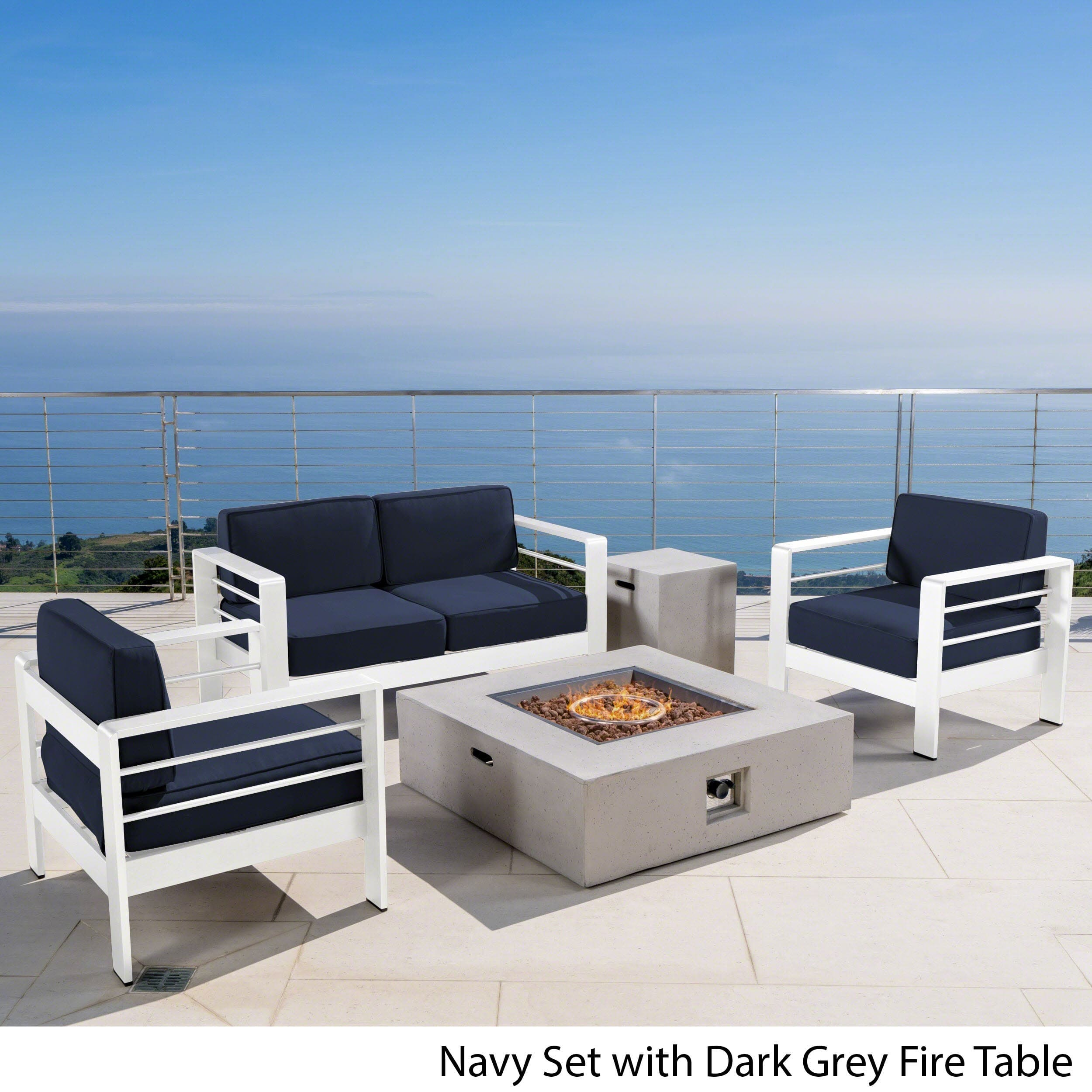 Christopher Knight Home Cape Coral Outdoor 5-piece Fire Aluminum Pit Chat Set with Cushion by