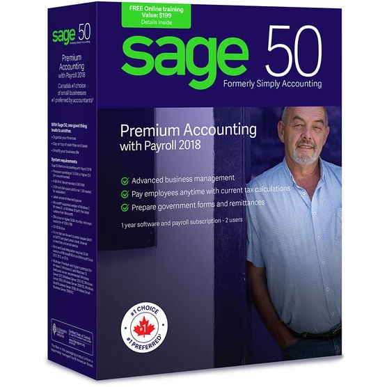 Sage 50 Premium Accounting 2018 with Payroll (Bilingual)