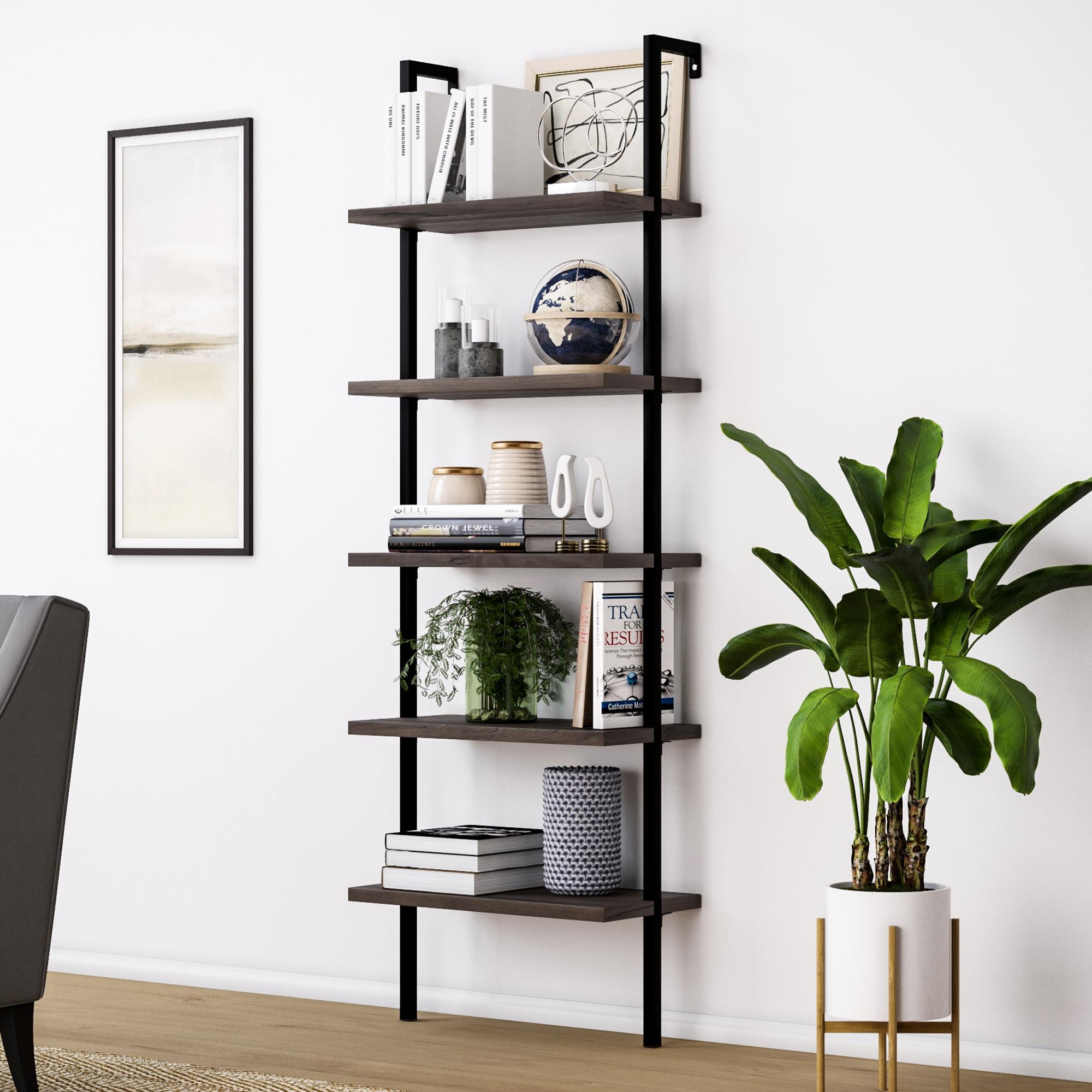 Theo Wood Ladder Bookcase Rustic Dark Brown Wood and Metal Frame, Dark Brown/Black