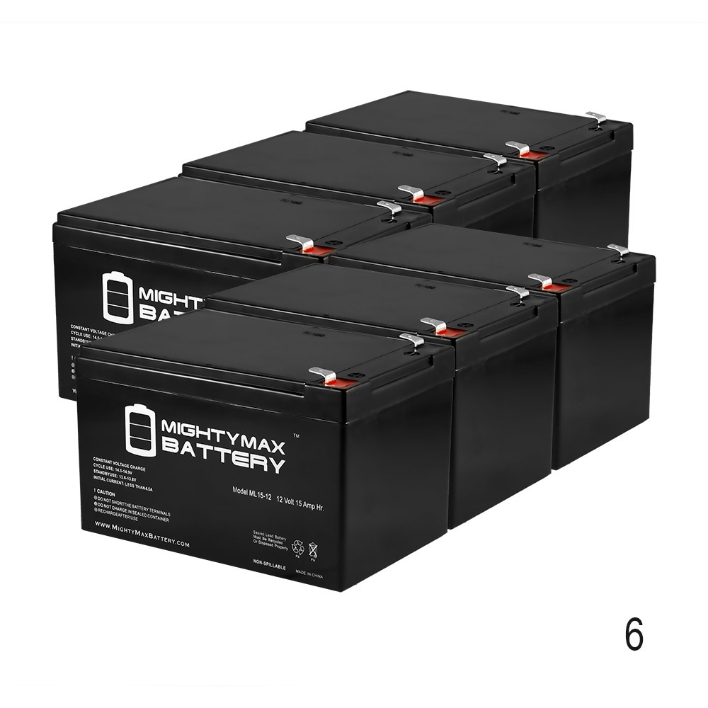 12V 15AH F2 Battery Replacement for Currie Womens E-Cruiser - 6 Pack
