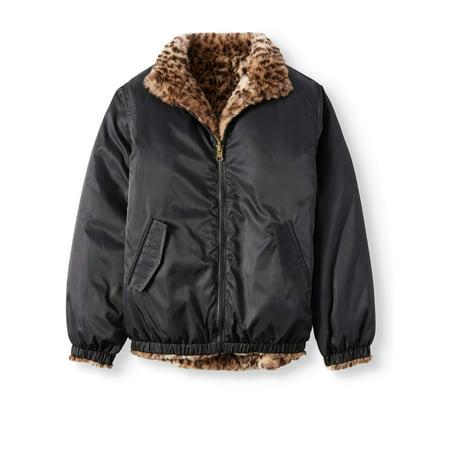Reversible Leopard Faux Fur Bomber Jacket (Little Girls & Big Girls)