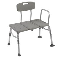 Plastic Tub Transfer Bench with Adjustable Backrest (Gray)
