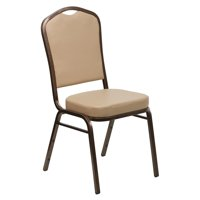 Crown Back Stacking Banquet Chair in Tan Vinyl - Copper Vein Frame