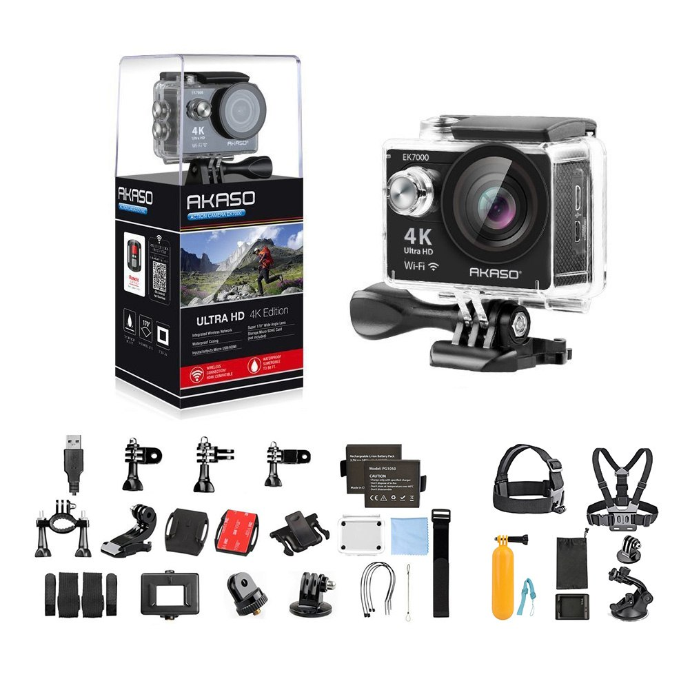 AKASO EK7000 Ultra HD 4K WIFI 170 Degree Wide Waterproof Sports Action DV Camcorder Silver (EK7000) with 7 in 1 Camera Accessories (Black)