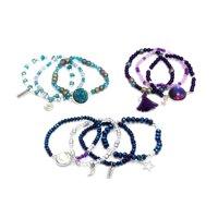 LaurDIY Stretch Jewelry Making Kit, 10 Bracelets, Blue and Purple Beads