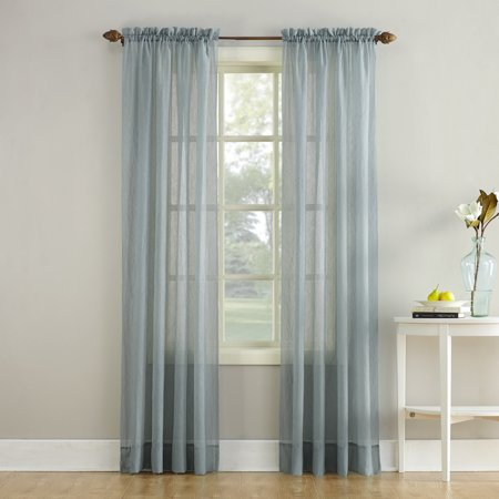 """51""""x84"""" Erica Crushed Sheer Voile Rod Pocket Curtain Panel Charcoal - No. 918"""