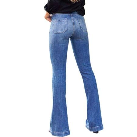 Plus Size Women High Waist Flare Pants Slim Fit Denim Jeans Pockets Elastic Trouser Casual Skinny Pant Denim Blue S = US 4