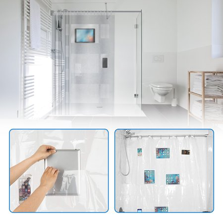 Clear Shower Curtain Liner With Pockets PhoneTablet Holder Waterproof 72