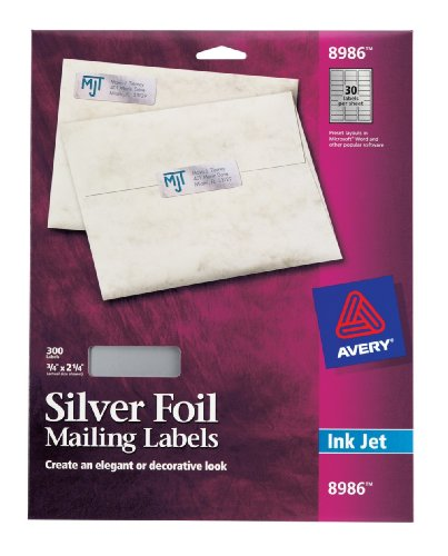 Avery Silver Foil Mailing Labels for Inkjet Printers, 3/4...