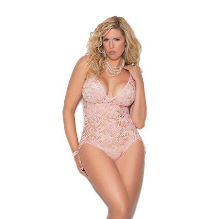 6155ce17c Elegant Moments - Womens Plus Size All Over Lace Adjustable Eyelash Lace  Teddy Romper Lingerie - Walmart.com