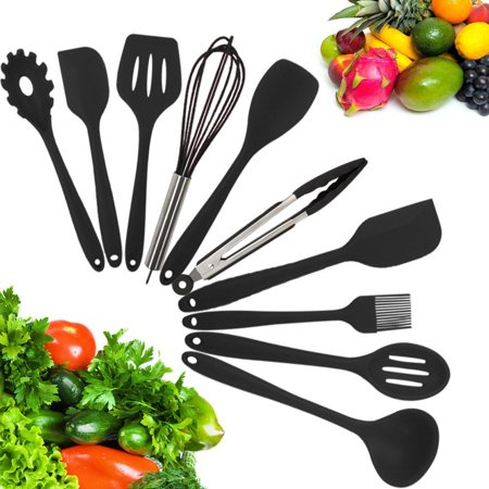 10-Piece Silicone Kitchen Utensil Set Non-Stick Heat-Resistant Cooking Tools - Tong/Whisk/Slotted Spoon/Basting Brush/Spatula/Soup Ladle/Slotted Turner/Pasta Server/Spoonula for Cooking Serving, Black