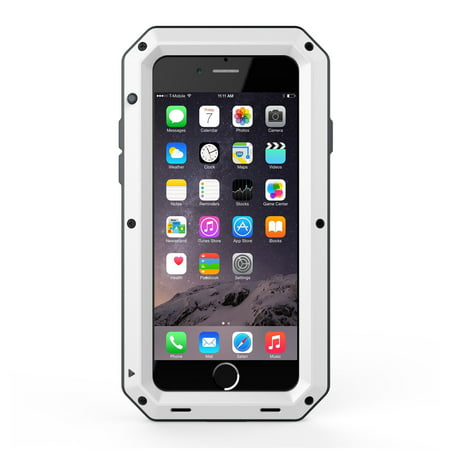 Waterproof Shockproof Aluminum Glass Metal Protect Case Cover for Apple iPhone 6 Plus / 6s Plus-White (Iphone 6 Case Waterproof Apple)