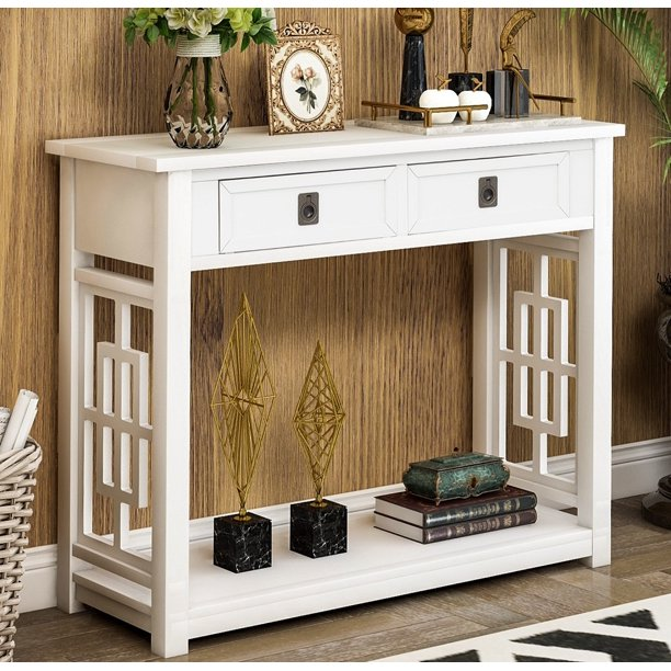"""Console Table with Drawers, SEGMART 36"""" Sofa Table with Storage"""