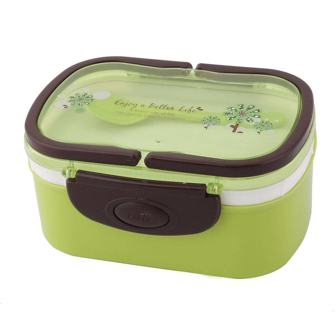 Household Outdoor Plastic Flower Pattern Handle Food Container Lunch Box Green