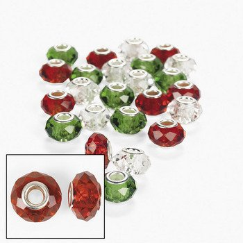 Red Clear Green Crystal Large Hole Beads - 14mm - Beading &