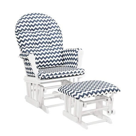 Angel Line Windsor Glider and Ottoman, White Finish and Navy Chevron Cushion
