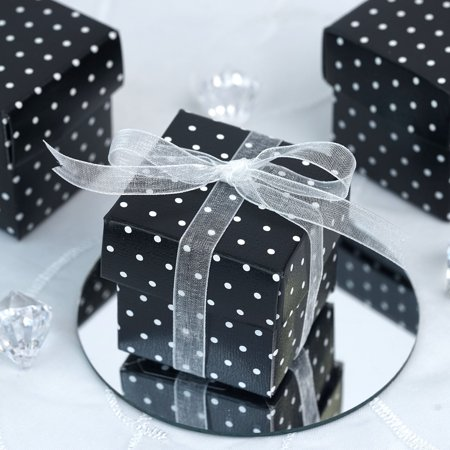 Efavormart 100 Boxes Polka Dots 2 pcs Favor Boxes  for Candy Treat Gift Wrap Box Party Favor Boxes for Bridal Shower Anniverary Bridal Shower Party Dessert Paper