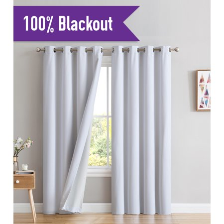 HLC.ME Textured 100% Blackout Room Darkening Thermal Lined Energy Efficient Curtain Grommet Panels For Living Room - Set of 2 panels