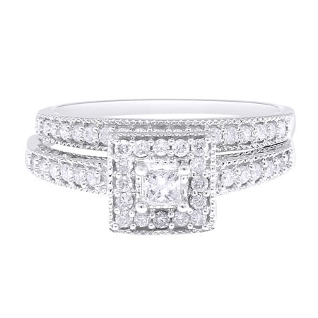 White Natural Diamond Bridal Solitaire Halo Band Ring In 10k White Gold (0.55 Cttw) ()