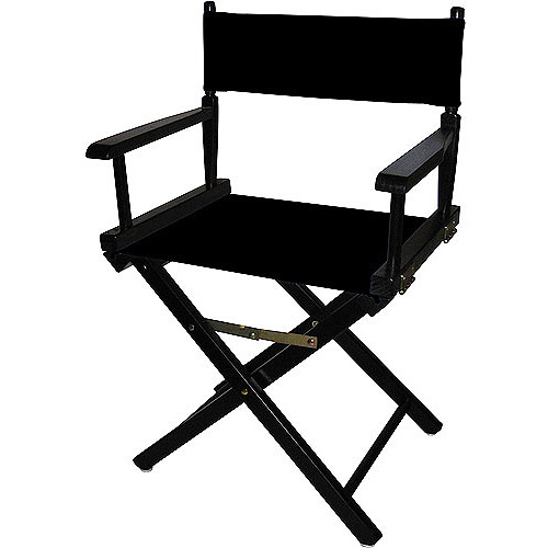 "Director's Chair 18"", Black Wood Base with Multiple Seat Color Choices"