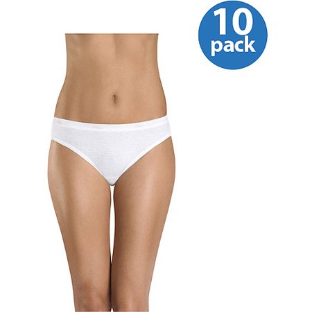 Hanes Women's Cotton Bikini Panties - 10 Pack - Embroidered Bikini Panties