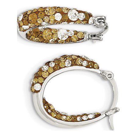 925 Sterling Silver Champagne and Clear Crystal Hinged Hoop (25x21mm) Earrings - image 2 de 2