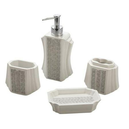 Jovi home greek key bath accessory 4 piece set for Bathroom 4 piece set