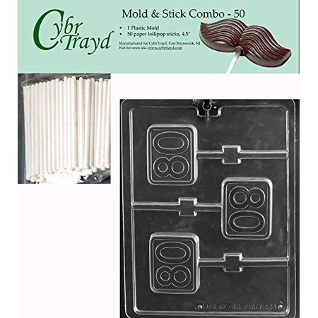CybrTrayd 45St50-L064 #80 Square Lolly Chocolate Candy Mold, Clear