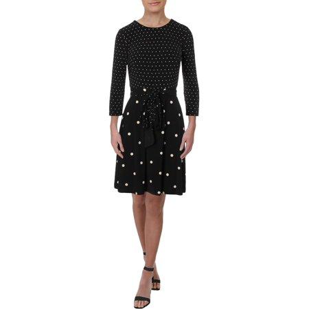 Lauren Ralph Lauren Womens Petites Elyssa Polka Dot Belted Wear to Work Dress Wear Polka Dots